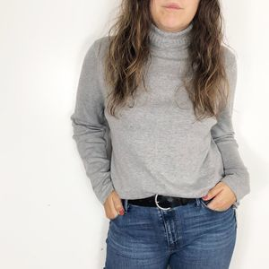 TALBOTS Gray Cotton Lightweight Turtleneck Sweater